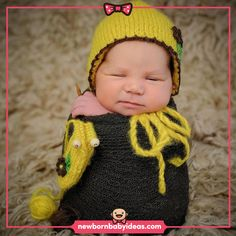 Wrapped pose grey wrap and yellow knit baby hat. Baby Hats Knitting, Newborn Baby Photography, Poses, Yellow, Grey, Figure Poses, Gray, Repose Gray, Gold