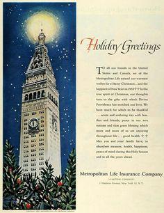 Metropolitan Life Insurance Co 1957 Life Insurance Companies, Insurance Ads, Vintage Advertisements, Merry Christmas, New York, History, Holiday, Clock, Merry Little Christmas