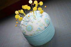 How creative - using a tuna can to make a pin cushion!