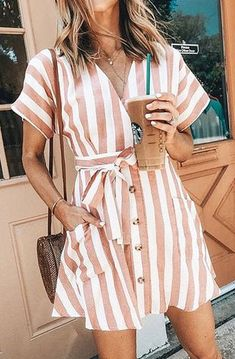 Pink and white stripped dress. Pink and white stripped dress. The post minimal fashion. Pink and white stripped dress. appeared first on Summer Ideas. Trendy Summer Outfits, Summer Fashion Outfits, Spring Outfits, Cute Outfits, Style Fashion, Womens Fashion, Dress Fashion, Casual Outfits, Fashion Trends
