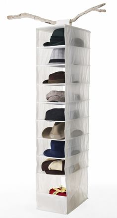 Front hall closet // Hang a SKUBB organizer in the coat closet for hats, shoes, scarves or mittens. Diy Hat Rack, Wall Hat Racks, Hat Storage, Storage Ideas, Ikea Us, Hat Display, Hallway Furniture, Bedroom Furniture, Dorm Organization