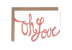 Love You Card  Oh Love by hellosmallworld on Etsy, $4.00