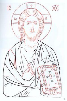 Pantocrato Religious Icons, Religious Art, Christ Pantocrator, Byzantine Icons, Catholic Art, Painting Process, Orthodox Icons, Christian Art, Line Drawing