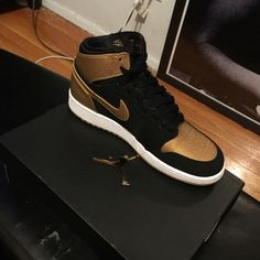 Air Jordan 1's Deadstock air Jordan 1's gold and black Melo Jordan Shoes Athletic Shoes