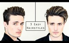 3 Easy Mens Hairstyles | No Heat Hair Tutorial - Healthy Hair 2016