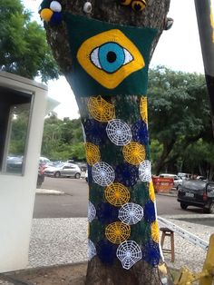 Yarnbombing for Brazil Football World Cup, Curitiba city