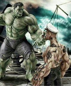 The Incredible Hulk Vs- Popeye the Sailor. Yep, Hulk got stomped. Hulk Marvel, Marvel Dc Comics, Bd Comics, Marvel Heroes, Avengers, Aquaman Comics, Cartoon Cartoon, Cartoon Kunst, Comic Kunst