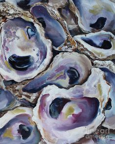 Oyster Shells Original Oil Painting Coastal Seafood Art Wall Decor by Kristine Kainer by KristineKainer on Etsy Oyster Shell Crafts, Oyster Shells, Painted Shells, Tropical Art, Art For Art Sake, Beach Art, Oysters, Watercolor Art, Fine Art America