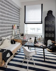 The kids' room design experts at HGTV.com share photos of a chic black-and-white little girl's room, designed by Sissy + Marley, that's full of bold pattern.