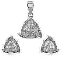 SE1307ZSS Trojuholníky - strieborný set so zirkónmi  #supersperky #krasnesperky #striebornyset #striebro #sperky #jewelry #striebornyset #silverset #luxuryjewelry #luxusnesperky