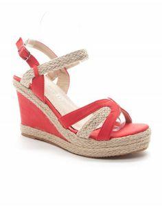 Chaussures femme Style Shoes: Sandale compensée corail -20€