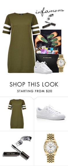 """""""infamous."""" by xluxaryx ❤ liked on Polyvore featuring New Look, Puma, Bobbi Brown Cosmetics and Rolex"""