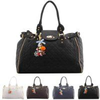 Leather Handbags Uk Las Womens Designer Look Boutique Quilted Shoulder Handbag With Bag Charm Black White Navy