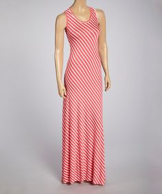 Look what I found on #zulily! Coral & White Stripe Maxi Dress - Women by Retro Rags #zulilyfinds