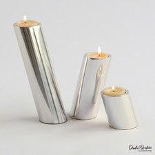 Black Friday Special: 20% Off Gifts     3 Piece Slanted Candleholders - Nickel Set