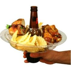 Designed for freehanded eating and drinking. Fits over most bottles, cans and cups. Great for tailgating or buffet style dinners.
