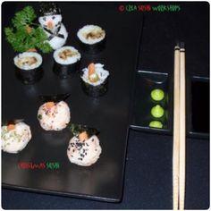 Our Christmas sushi! Salmon snowman & salmon snowballs!