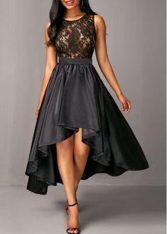 881ddd588c82 Zipper Back Sleeveless Lace Bodice High Low Dress Vestido Fino, Vestido  Preto, Vestido Chique