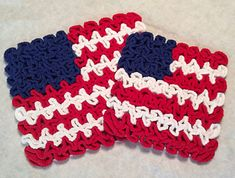 Ravelry: Wiggly July Flag Hot Pad and Coaster pattern by Susan Lowman Wiggly Crochet Patterns, Crochet Coaster Pattern, Crochet Ideas, Crochet Projects, Crochet Kitchen, Crochet Home, Free Crochet, Knit Crochet, Crochet Hot Pads