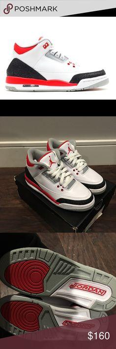 "Air Jordan 3 Retro ""Fire Red"" 2013 Brand New w/ original box. 398614 120 2013 | white, fire red-silver-black | Deadstock Jordan Shoes Sneakers"