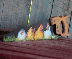 A Stars Art original on a vintage saw. Gossiping Hens I did original,free-style,paintings on this saw. I try to convey a funny situation in the Hen House. Medium: Acrylic 22 inches long