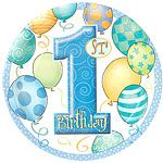 First Birthday Balloons Blue Paper Plates 23cm 8pk party range ideal for 1st birthday