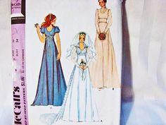 1970 Vintage Empire Waist Wedding Dress Pattern Misses size 12 Empire Waist Detachable Train and Bridesmaid Dress by PatternsFromThePast