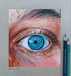 Art Drawings Sketches Simple, Pencil Art Drawings, Colorful Drawings, Drawing Art, Realistic Eye Drawing, Realistic Paintings, Eyes Artwork, Color Pencil Art, Eye Art