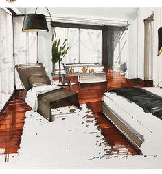 Interior Design For Living Room Info: 7058449953 Interior Architecture Drawing, Interior Design Renderings, Drawing Interior, Architecture Sketchbook, Interior Rendering, Interior Sketch, Architecture Design, Interior And Exterior, Landscape Architecture