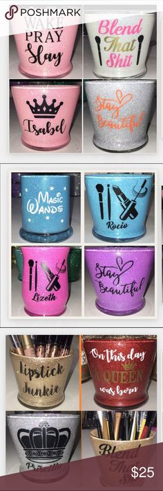 Makeup Holder Makeup Brush Holder, pen holder, etc. PERSONALIZED to order. 16 colors available. 3 different bases available. $25 each. Kylie Cosmetics Makeup Brushes & Tools