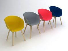 Chaise avec une coque en polypropylène coloré dans la masse. Piètement 4 pieds en chêne laqué naturel, teinté noir ou chêne savonné. Cette chaise est déclinée en gris, bleu, moutarde, corail, blanc et noir.
