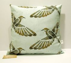 'Fly Away Birds' Cushion cover - Utique Scatter Cushions, Throw Pillows, Flies Away, Handmade Cushions, Online Gifts, Soft Furnishings, Cushion Covers, Textile Design, Birds