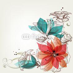 """Fotomural """"follaje, flor, floral - o de flores vintage"""" ✓ Amplia selección de materiales ✓ Impresión 100% ecológica ✓ ¡Comprueba las opiniones de nuestros clientes!"""