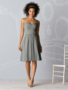 Dessy - After Six Bridesmaids Style 6609, strapless cocktail length lux chiffon dress with shirred bodice & matching flower detail at natural waist (charcoal grey)