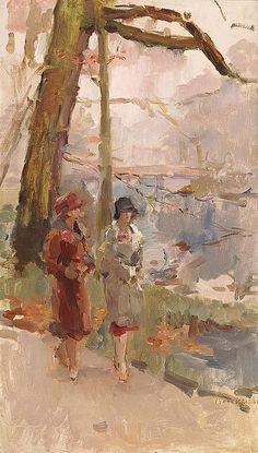 Isaac Israëls - Twee wandelende dames in het Haagsche bos