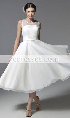 Pure White Organza Bridesmaid Dress Tea-Length A-Line Women Dress Fashion Party Dress