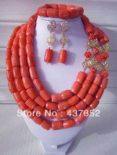 African Nigerian Wedding Pink Coral Beads Jewelry Sets Fashion Bridal Jewelry Set Free Shipping CWS-095 $88.09