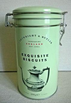 CARTWRIGHT & BUTLER (C&B) EXQUISITE BISCUITS PALE GREEN EMPTY CLIP JAR LID TIN Jar Lids, Tins, Butler, Empty, Biscuits, Green, Tin Cans, Crack Crackers, Cookies