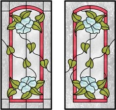 Cabinet glass flowers leaves and vines mixed with a arched border