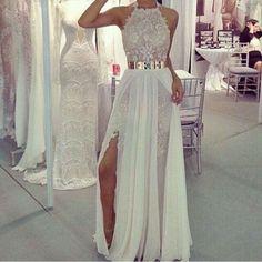 Halter Prom Dress,Lace Prom Dress,A-Line Prom Dress,Long Prom Dress,Elegant Prom…