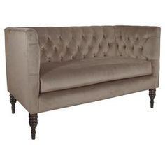 "Lend a touch of elegant appeal to your living room or parlor with this stylish settee, showcasing a streamlined silhouette and button-tufted back. Handmade in the USA.  Product: SetteeConstruction Material: Pine wood, fabric and polyester foamColor: MondoFeatures:  Handmade in the USAButton-tuftedDimensions: 33"" H x 52"" W x 28"" DAssembly: Simple assembly required"