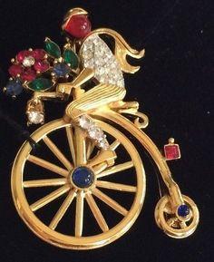 Rare Vintage Trifari Flower Peddler/Bicycle Figural Brooch/Pin~RS/Gold Tone~Sign #Trifari
