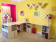 #crafting #craftrooms and #storage & #organization ideas. #papercrafting: setting up craft supply #storage and #organization in a #scrapbookingroom / #craftroom