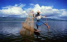 Leg rowing fisherman of Inle Lake, Myanmar
