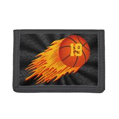 Cool Basketball Wallet w/Flaming Flying Basketball - click/tap to personalize and buy