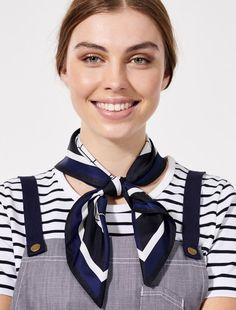 The Esther Graphic Scarf is the ultimate finishing touch to a standout uniform look. Versatility is endless with this graphic print allowing it to be folded 3 different ways to reveal a different design each time. Style as a headband or side neck knot Waiter Uniform, Hotel Uniform, Complimentary Colors, Skinny Ties, Head And Neck, Neck Scarves, Dapper, Casual Looks, New Look