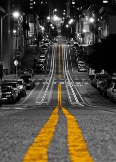 New Black And White Photography City Color Splash Pictures Ideas Line Photography, Splash Photography, Urban Photography, Black And White Photography, Yellow Photography, Symmetry Photography, Colourful Photography, Night Street Photography, Straight Photography