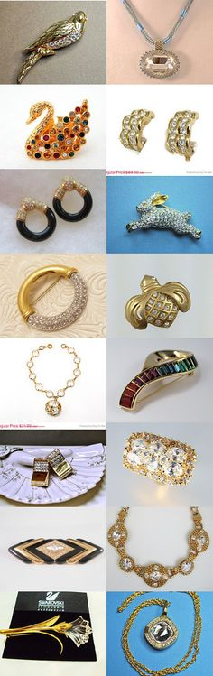 Swarovski #voguet #HauteVintageJewels #vintage. Beautiful Swarovski treasures, courtesy of the Vintage Vogue Team and shop of the day, HauteVintageJewels -- congratulations, Karen!  For more wonderful selections, use the search term: vogueteam Swarovski Curator: Anna Ragland from https://www.etsy.com/shop/baublology #Etsy #EtsyTreasury #Swarovski #Vintage #Jewelry