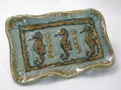 SEAHORSE Soap Dish Green And Gold by GreatWorksArtPottery on Etsy, $10.00