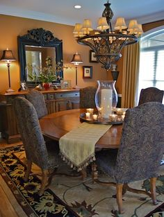 Dining set by Stanley Furniture, lighting by Sarried